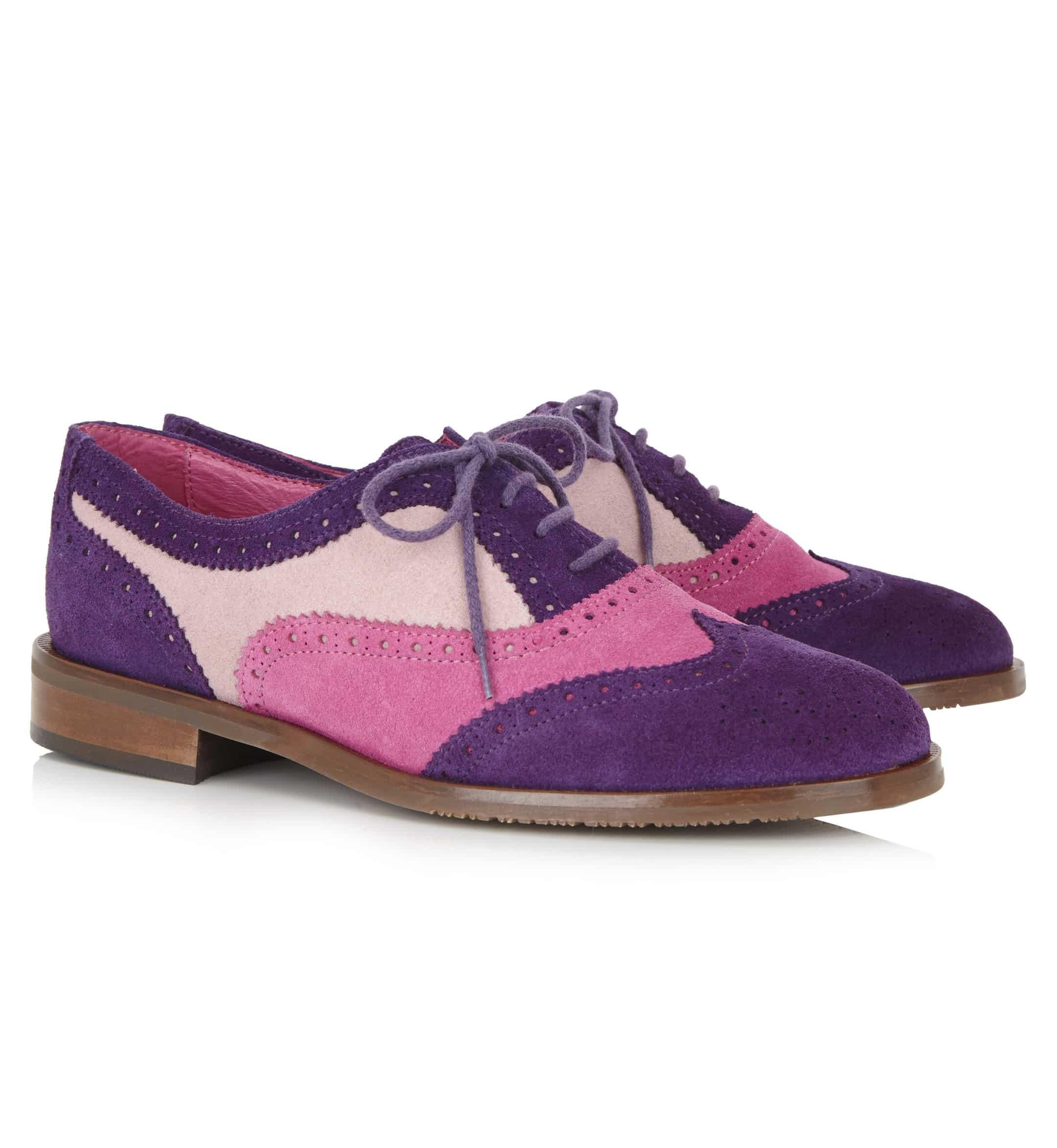 Victoria – Pink/Purple Suede Brogue